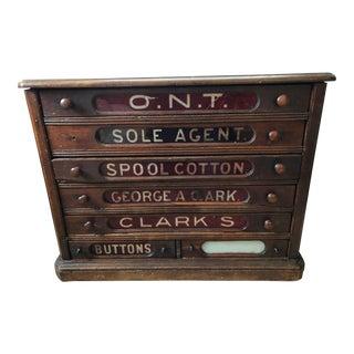 Antique J & P Coats Oak Thread Spool Cabinet