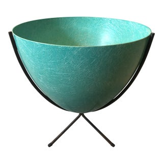 Vintage Mid Century Atomic Aqua Planter For Sale
