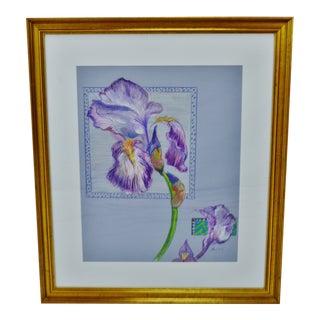 Vintage Framed Colored Pencil Iris Drawing - Artist Signed For Sale