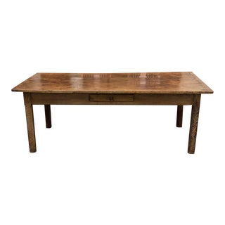 19th Century English Fruitwood Farm Dining Table For Sale