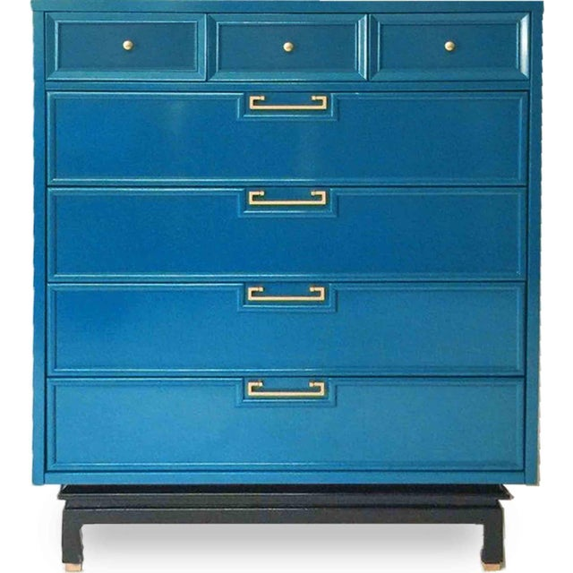 1960s American of Martinsville Mid-Century Chinoiserie Highboy For Sale - Image 5 of 5