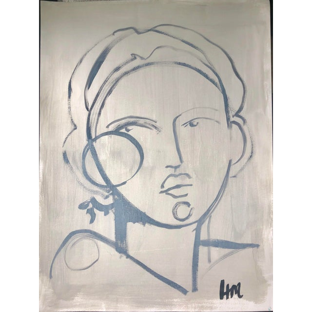 "Original 18"" by 24"" painting of female figure on paper by southern artist Hayley Mitchell."