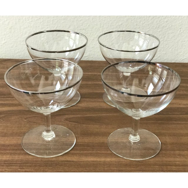 Mid-Century Silver Rimmed Champagne Glasses - Set of 4 - Image 3 of 5