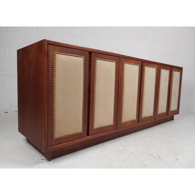 Vintage Modern Walnut Credenza With an Upholstered Front For Sale - Image 11 of 11