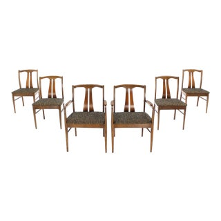 Mid-Century Modern Walnut Dining Chairs Set of 6 For Sale