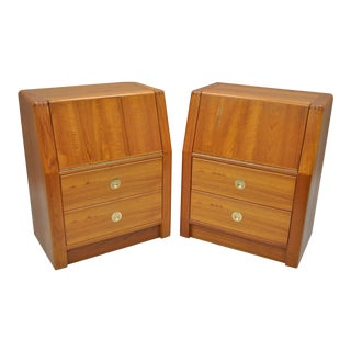 D-Scan Captain Line Danish Modern Style Teak Nightstands Bedside Tables - a Pair