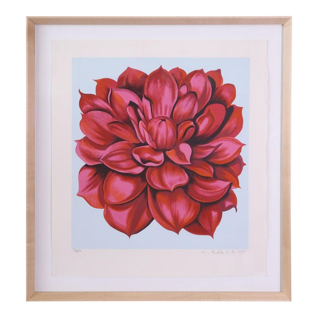 """Signed Serigraph """"Red Dahlia"""" by Lowell Nesbitt For Sale"""
