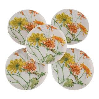Vintage Watercolor Chrysanthemum Plates - Set of 5