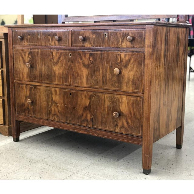 Wood Early 1900s Mahogany Burlwood Hepplewhite Dresser Storage Credenza Cabinet With Hand Turned Wooden Knobs For Sale - Image 7 of 7