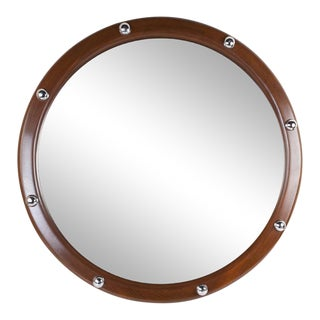 Nautical Teak and Chrome Ship's Stateroom Mirror For Sale