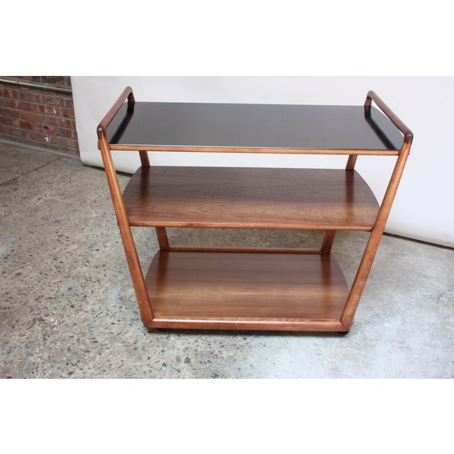 J.B. Van Sciver Company American Modern Walnut Three-Tier Rolling Bar / Tea Cart With Ebonized Surface For Sale - Image 4 of 13
