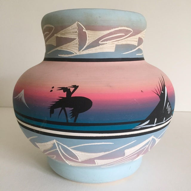 Boho Chic Vintage Signed Navajo Native American Pink Mesa Sunset Hand Painted Pottery Vase For Sale - Image 3 of 11