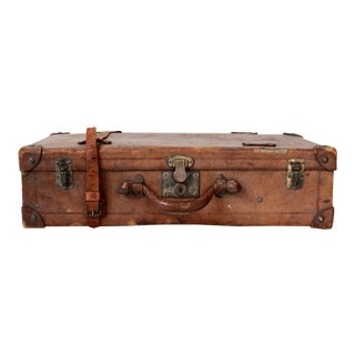 Antique Brown Leather Suitcase For Sale