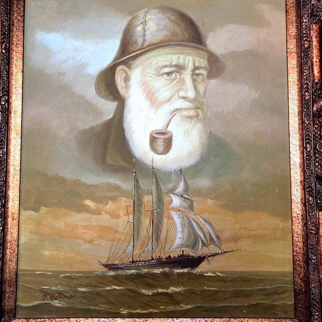 1960s 1960s Vintage Captain and Ship Nautical Framed Original Painting For Sale - Image 5 of 9