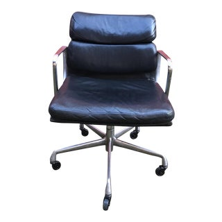 Eames Soft Pad Black Leather Aluminum Group Chair