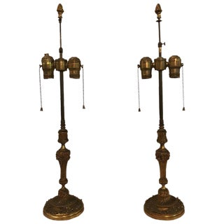 French Bronze Table Lamps - a Pair For Sale