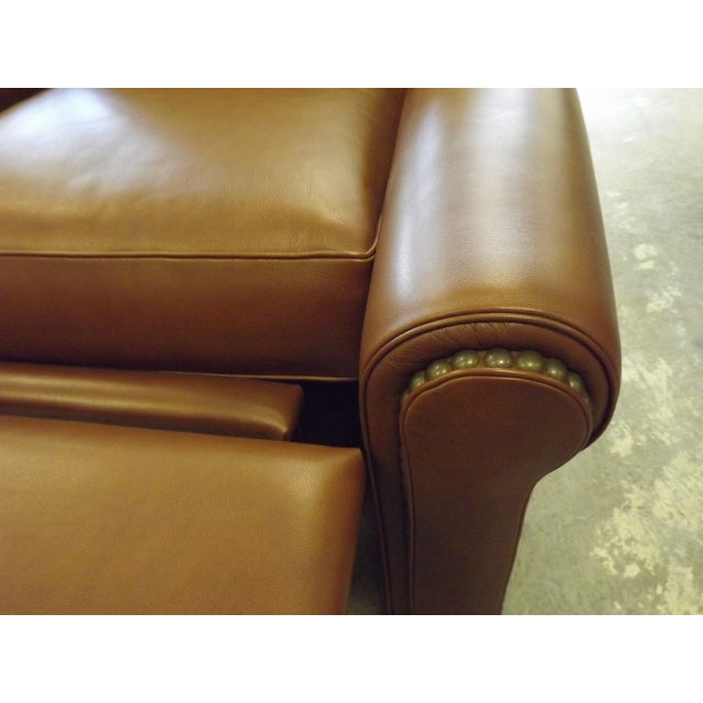 Brown Leather Swivel Recliner With Nailhead Trim - Image 5 of 5