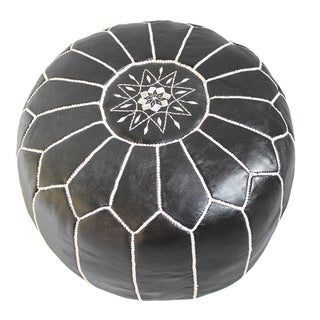 Moroccan Leather Ottoman/Pouf For Sale