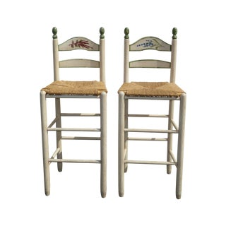 French Country White Rush Seat Bar Stools -- A Pair For Sale