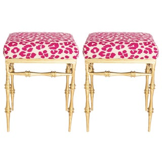 Pair of Gilt Metal Pink Schumacher Leopard Upholstered Benches