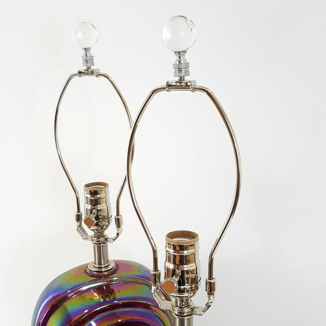 Blue Vintage American Art Deco Revival Streamline Modern Iridescent Carnival Glass Lamps - a Pair For Sale - Image 8 of 13