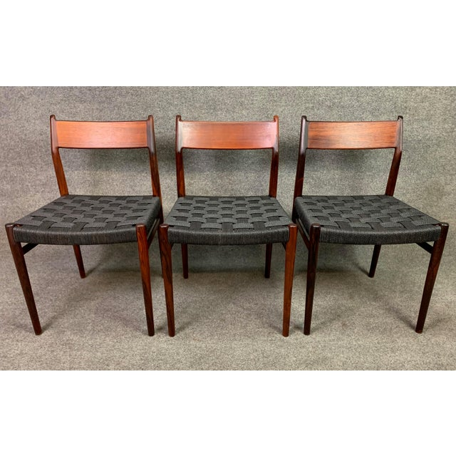 Danish Modern Set of Six Vintage Mid Century Danish Modern Rosewood Dining Chairs Model #418 by Arne Vodder for Sibast For Sale - Image 3 of 12