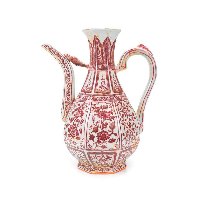 """Chinese """"Red & White"""" Porcelain Ewer - Image 1 of 8"""