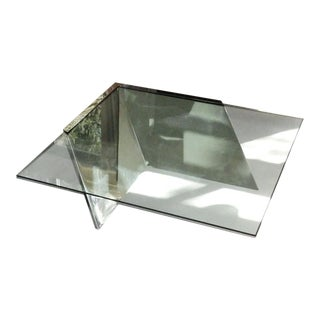 Mid-Century Modern Brueton J. Wade Beam Cantilevered Stainless Steel Coffee Table For Sale