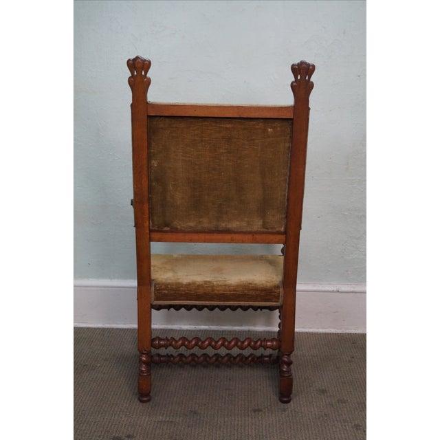 Antique 19th C. Renaissance Revival Barley Twist Throne Chair - Image 4 of  10 - Antique 19th C. Renaissance Revival Barley Twist Throne Chair