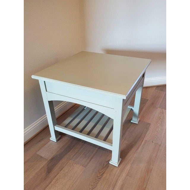 Drexel Heritage Artisan Bungalow Collection Painted Tiered Side Table For Sale - Image 10 of 11