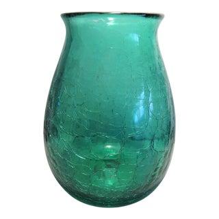 Murano Pontil Aqua Blown Glass Crackle Vase For Sale
