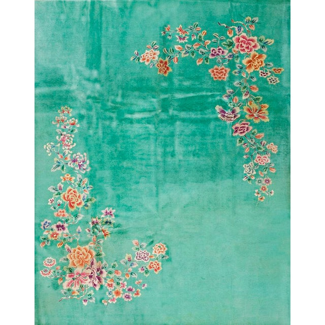 1930s 1930s Antique Chinese Art Deco Rug-9′ × 11′6″ For Sale - Image 5 of 5