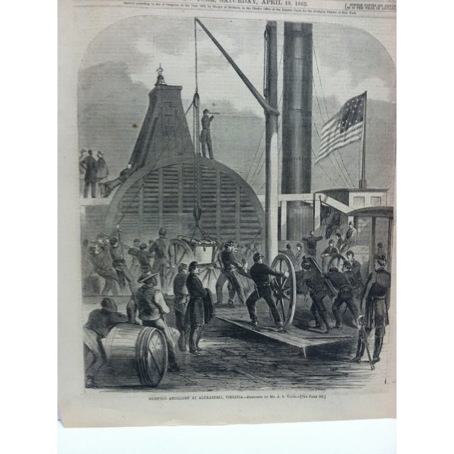 "American 1862 Antique ""Shipping Artillery at Alexandria Virginia"" The Harper's Weekly Print For Sale - Image 3 of 6"