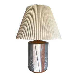 Vintage Post Modern Ceramic and Wood Japanese Lamp With Pleated Shade For Sale