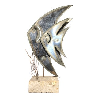 1980s Acid Washed Metal Angel Fish Pair For Sale