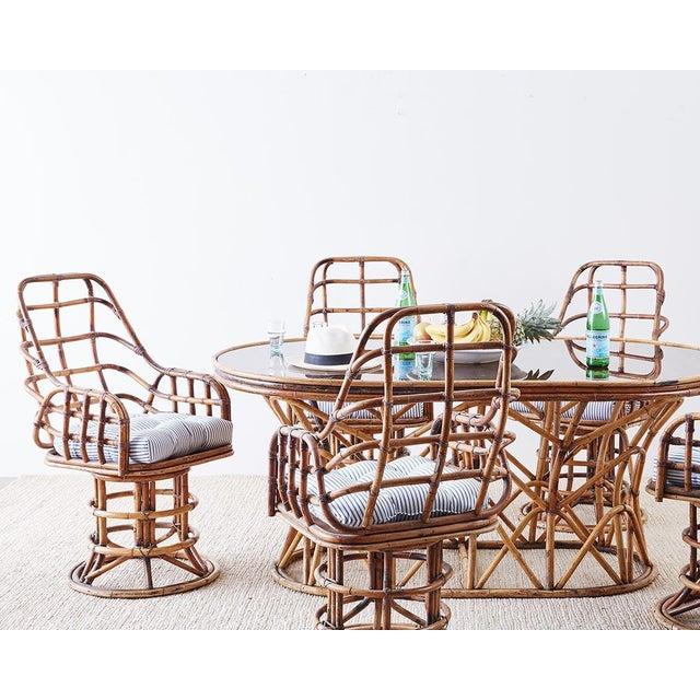 Animal Skin Franco Albini Style Bamboo Rattan Swivel Lounge Chairs For Sale - Image 7 of 13