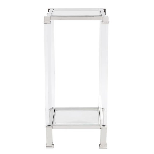 2020s Kenneth Ludwig Chicago Claire Acrylic & Chrome Pedestal Table For Sale - Image 5 of 5