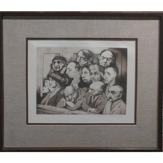 "Charles Bragg- Sequestered Jury - Original Hand Signed Etching frame size 18 x 21"" paper size 9 x 12"" Biography Charles..."