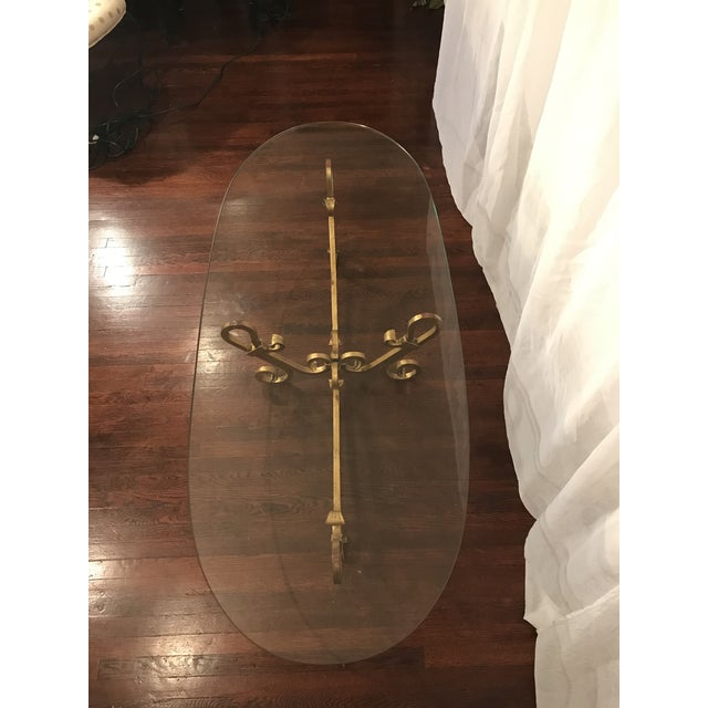 Mid 20th Century Large Hollywood Regency Gilt Metallic Gold Wrought Iron Table For Sale - Image 5 of 12