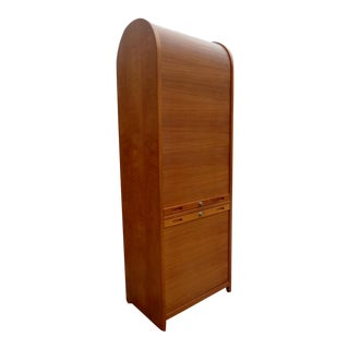 Vintage Danish Modern Teak Tambour Cabinet Storage File For Sale
