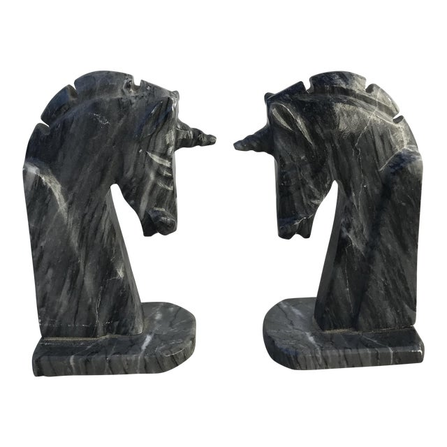 Italian Marble Unicorn Bookends - a Pair - Image 1 of 4