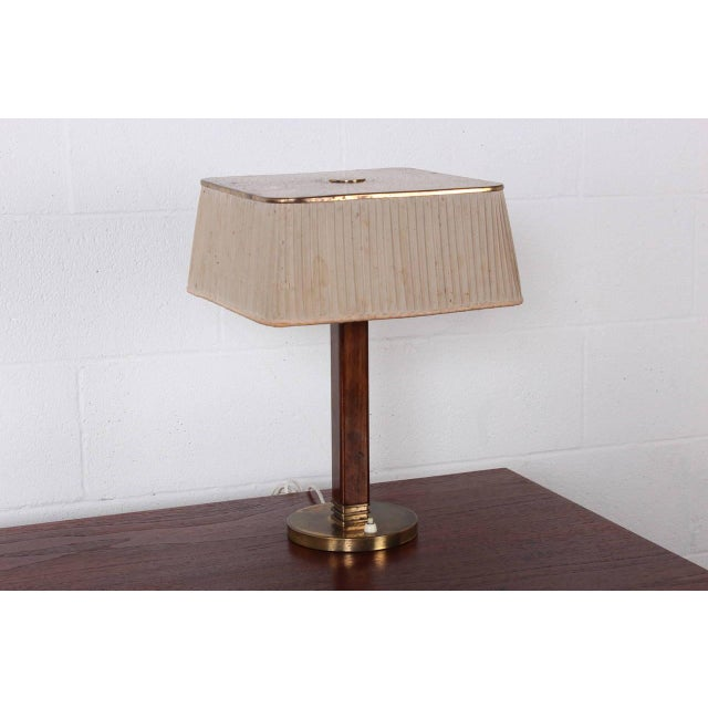 Rare lamp with original shade and patina. Stamped Taito Oy.