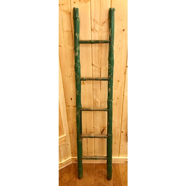 Vintage Green Chipped Paint Bamboo Ladder For Sale - Image 9 of 9