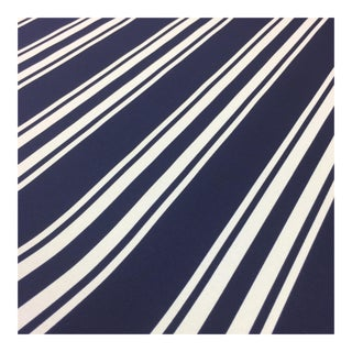 Solarium Blue & White Stripe Fabric - 5 and 1/4 Yards For Sale