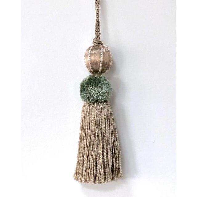 """Sage & Taupe Beaded Key Tassel - 4.5"""" For Sale In New York - Image 6 of 8"""