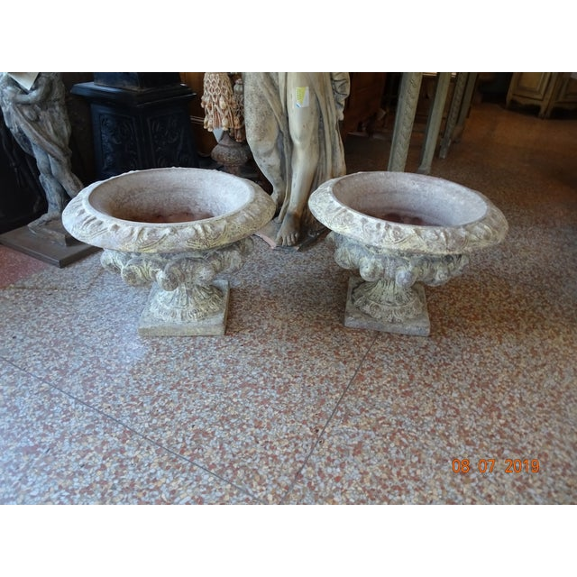 Pair of French Terra Cotta Jardinieres For Sale - Image 9 of 10