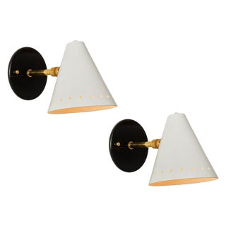 Black & White 1950s Italian Sconces in the Manner of Arteluce - a Pair For Sale