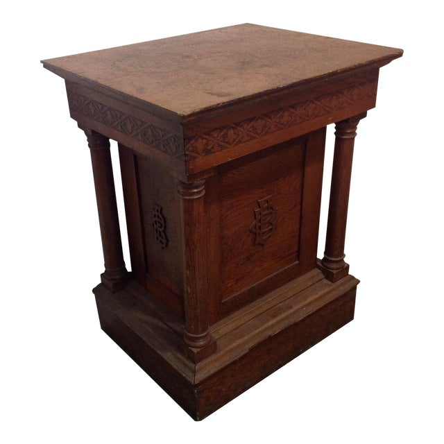 Antique Knights of Pythias Oak Table or Stand - Image 1 of 7