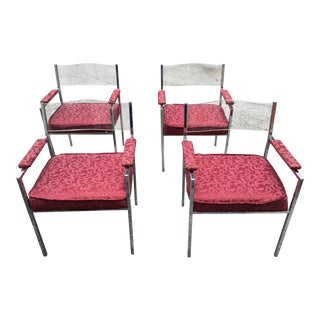 Milo Baughman Lucite Back Chairs - Set of 4