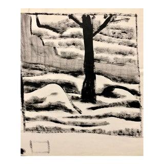 "Donald Stacy ""Mound Street"" C.1950s Gouache Landscape Mid Century Painting For Sale"